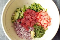 I need to try making ceviche sometime, this one looks like a good place to start.  Watermelon Tuna Ceviche