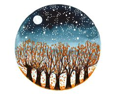 Original Watercolor painting Autumn fall trees by bluepalette Watercolor Sky, Watercolor Cards, Watercolor Illustration, Watercolor Paintings, Fall Tree Painting, Dot Painting, Circle Art, Learn Art, Galaxy Art