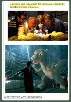 Haha Jurassic park with land before time characters lol love this! Lego Jurassic Park, Jurassic Park Party, Jurassic World, Jurassic Park Quotes, Funny Shit, Funny Cute, The Funny, Funny Memes, Hilarious