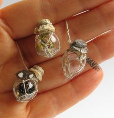 Tiny little mesh bags around miniscule light-bulb shells. - Peppercorn Minis: Potion bottles for a not-so-wise-woman