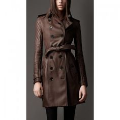 Leather Rider Brown Long Quilted Sleeve Trench Leather Coat For Women