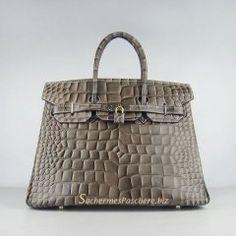 Sacs Hermès Pas Cher Birkin 35cm Crocodile Veins Cuir Sac Khaki 6089 63deb4e78af