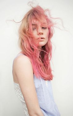 pink and blonde curly hair