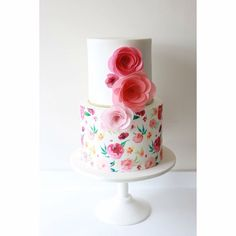 Painted cake, wafer paper flowers