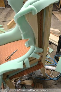 DIY wingback dining chair - how to upholster the chair frame - 40