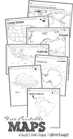 FREE Maps - free printable maps of world, continents, australia, united states, europe and more both blank and labeled Great resource when teaching students geography in the classroom! 3rd Grade Social Studies, Maps For Kids, Homeschool, Teaching Social Studies, Homeschool Printables, Homeschool History, Homeschool Geography, Teaching, Teaching Geography
