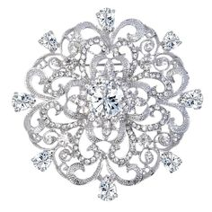 EVER FAITH® Wedding Silver-Tone Fleur-de-lis Flower Brooch Pendant Clear CZ Austrian Crystal *** See this great image  : Fashion Brooches and Pins