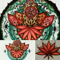 My sweet mandala Lotus flower in progress Lyra aqua brush duo, Marvy for drawing 0.1