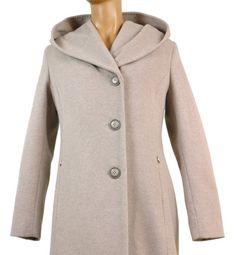 Popielaty wełniany płaszcz damski z kapturem Patrizia Orini