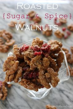 Roasted Sugar Spice Walnuts ~ Easy Last Minute Holiday Gift Idea! via A Girl Defloured holiday gift recipes Spicy Walnuts, Roasted Walnuts, Candied Walnuts, Spiced Walnuts Recipe, Dried Cranberries, Pecans, Walnut Recipes, Think Food, Afternoon Snacks