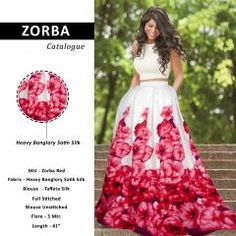 Designer Lehenga for Women    SKU: Zorba, Fabric: Heavy Banglory Satin Silk,Inner: Heavy American Crepe ,Blouse: Taffeta Silk ,Full Stitched ,Blouse Unstitched Flare: 3 Mtr.  Length: 41 Inch , Showroom Finishing Wash Care : Hand And Machine Wash