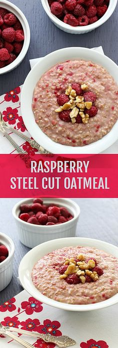 A simple and comforting bowl of steel cut oats with raspberries and walnuts. Yum!