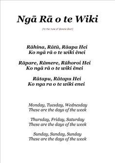 Days of The Week Nga ra o te wiki The days of the week… Preschool Songs, Kids Songs, Preschool Ideas, Teaching Aids, Teaching Tools, School Resources, Teacher Resources, Maori Songs, Maori Symbols