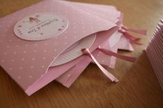 little girl christening invitations all in pink!