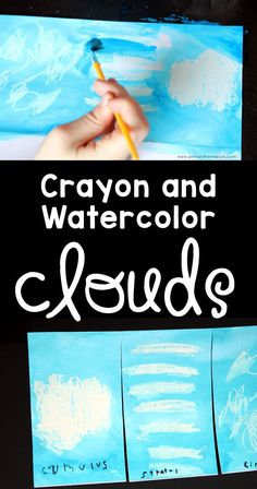 Cloud Activities for Kids - Primary Theme Park - - Cloud Activities for Kids – Primary Theme Park Homeschool Wolkenaktivitäten für Kinder :: Crayon and Watercolor Clouds Art Project Weather Activities For Kids, Preschool Weather, Weather Science, Preschool Science, Science Activities, Science Classroom, Preschool Assessment, Preschool Projects, Daycare Crafts