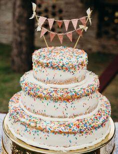 confetti funfetti three-tier sprinkle wedding cake