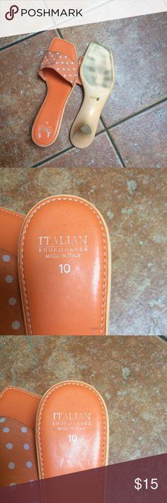 Sandals Orange polka dot sandals. Italian Shoe Maker Shoes Sandals