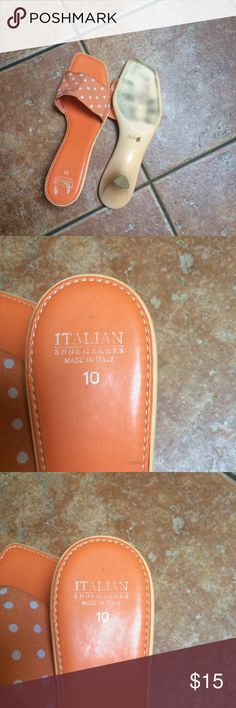 Sandals Orange polka dot sandals. Italian Shoe Maker Shoes Sandals