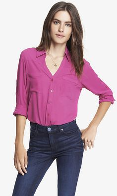 THE CONVERTIBLE SLEEVE PORTOFINO SHIRT IN RADIANT ROSE   Express