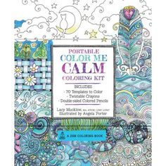 Portable Color Me Calm Coloring Kit Includes Book Colored Pencils And Twistable Crayons