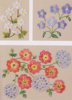 Set of Embroidery pdf e pattern hand stitch garden flower design idea for pillow case table cloth home decorate. $5.00, via Etsy.