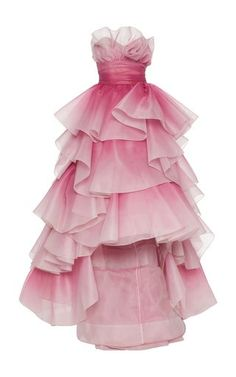Tiered-Ruffle Strapless Tulle Gown by Marchesa Kpop Fashion Outfits, Fashion Dresses, Women's Fashion, Marchesa Fashion, Tulle Gown, Beautiful Gowns, Pretty Dresses, Prom Dresses, Pageant Gowns