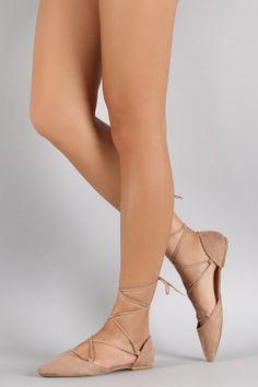 Qupid Ballet Lace Up Pointy Toe Dorsay Flat