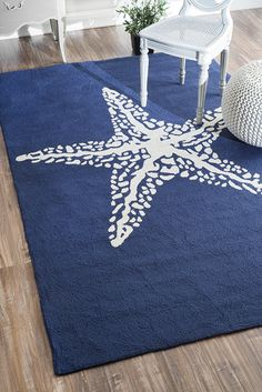 Rugs USA Hacienda Starfish Outdoor Blue Rug. Rugs USA Fall Sale up to 80% Off! Area rug, rug, carpet, design, style, home decor, interior design, pattern, trends, home, statement, fall,design, autumn, cozy, sale, discount, interiors, house, free shipping, Halloween, fall decorations, fall crafts, fall décor, great winter, winter, warm, furniture, art, navy, blue.