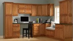 gray walls oak cabinets | Light blue/grey with oak cabinets | Paint colors for our walls