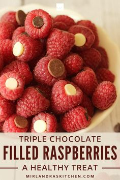 Snack? Treat? Breakfast??? You pick! Three kinds of chocolate tucked into fresh raspberries for a easy guilt free treat!! ! It is healthy, gluten free and perfect for people with allergies or food restrictions. Dessert Healthy, Healthy Treats, Dessert Recipes, Fruit Recipes, Desserts, Snack Recipes, Appetizer Recipes, Breakfast Recipes, Vegan Recipes