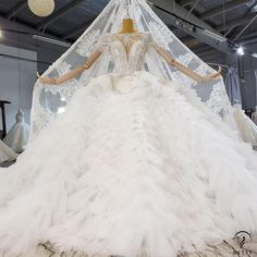 OSTTY - Lace Backless High Waist Cloud Long Trailing Wedding Dress OS2228 $1,299.99 Ball Dresses, Ball Gowns, Prom Dresses, Train Silhouette, Beaded Curtains, Wedding Hair Down, Fall Nail Colors, Gowns With Sleeves, Beaded Lace