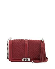 REBECCA MINKOFF Love Quilted Turn-Lock Crossbody Bag, Tawny Port. #rebeccaminkoff #bags #shoulder bags #lining #cotton #crossbody #suede #