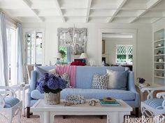 sala branca com azul