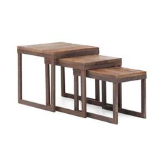 Metal and Fir Nesting Tables - Set of 3