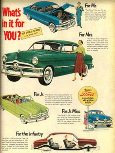 vintage ads 1950s | Vintage Ford automobile ads, 1950s - Found in Mom's Basement