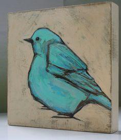 blue bird on beige original a2n2koon painting wall por a2n2koon