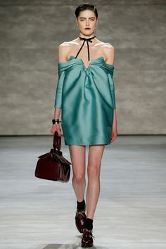 Zimmermann   Fall 2014 Ready-to-Wear Collection   Style.com  Oxblood hard leather accessories mixed with soft muted blue-green ovoid bustier dress