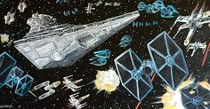 Star Wars Space Battle - acrylic on canvas. I started this painting before I moved to Florida. I was inspired by my Star Wars micromachine collection and Rogue One. #starwars #artwork #painting #acrylicpainting #space #illustration #art #bluesquadron #xwing #tiefighter #stardestroyer