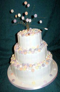 Love hearts wedding cake