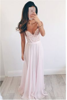 Custom Made Alluring Pink Lace A-line Straps Floor Length Bridesmaid Dress Wedding Dress Prom Dress