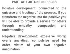 Part Of Fortune, Excessive Worry, Compassion, Pisces, No Worries, Houses, Positivity, Math Equations, Homes