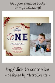 Baseball First Birthday Photo Invitation Baseball First Birthday, Sports Birthday, First Birthday Photos, Art Birthday, Birthday Design, First Birthday Parties, First Birthdays, Photo Birthday Invitations, For Your Party