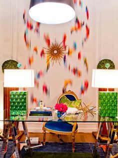 Holiday-House-Suzanne-Eason-interior-Design office workspace-color-kelly green vibrant
