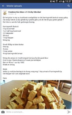 Bulk Cookie Recipe, Biscuit Recipe, Sweet Recipes, Snack Recipes, Cooking Recipes, Snacks, Over The Hill Cakes, Rusk Recipe, South African Recipes