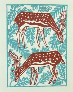 Deer Forest Linoprint