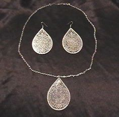 Gorgeous  unique! 	  RARE PERSIAN ISLAMIC STYLE SILVER PEACOCK JEWELRY SET RAMPAGE DESIGNER FASHION  Necklace  Earrings - on eBay! $24.98