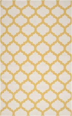 Golden Yellow and White Trellis Frontier Rug by Surya, Patterned Rugs,Flat Weave Rugs, Rugs for Children