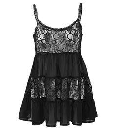 Black Lace Tier Swing Top