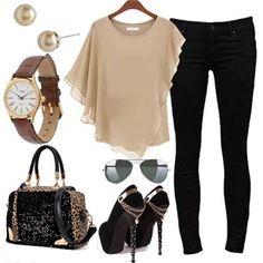 Um look versátil, bem arrumado pois os sapatos e a bolsa são perfeitos e se destacam no visual, podem ser usados no dia a dia de qualquer mulher!