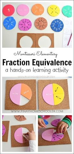 Hands on learning on how to find the equivalent of fractions Fractions Équivalentes, Fractions For Kids, Learning Fractions, Equivalent Fractions, Dividing Fractions, Montessori Math, Montessori Elementary, Elementary Math, Fraction Activities